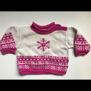 Hanna Andersson Sweater Pink Snowflake 3-6m